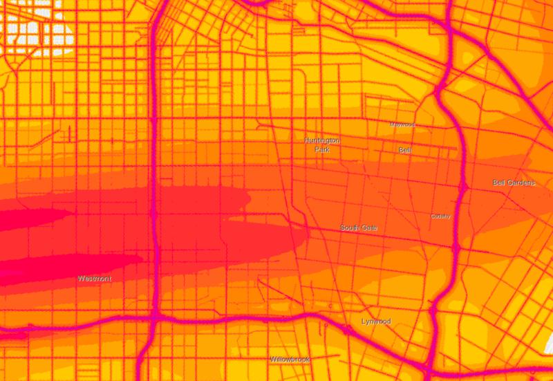 South L.A. noise pollution heat map